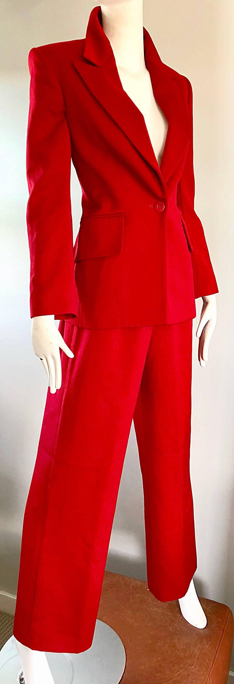 Isaac Mizrahi Vintage 1990s Lipstick Red Wide Leg Wool Le Smoking 90s Pants Suit 3