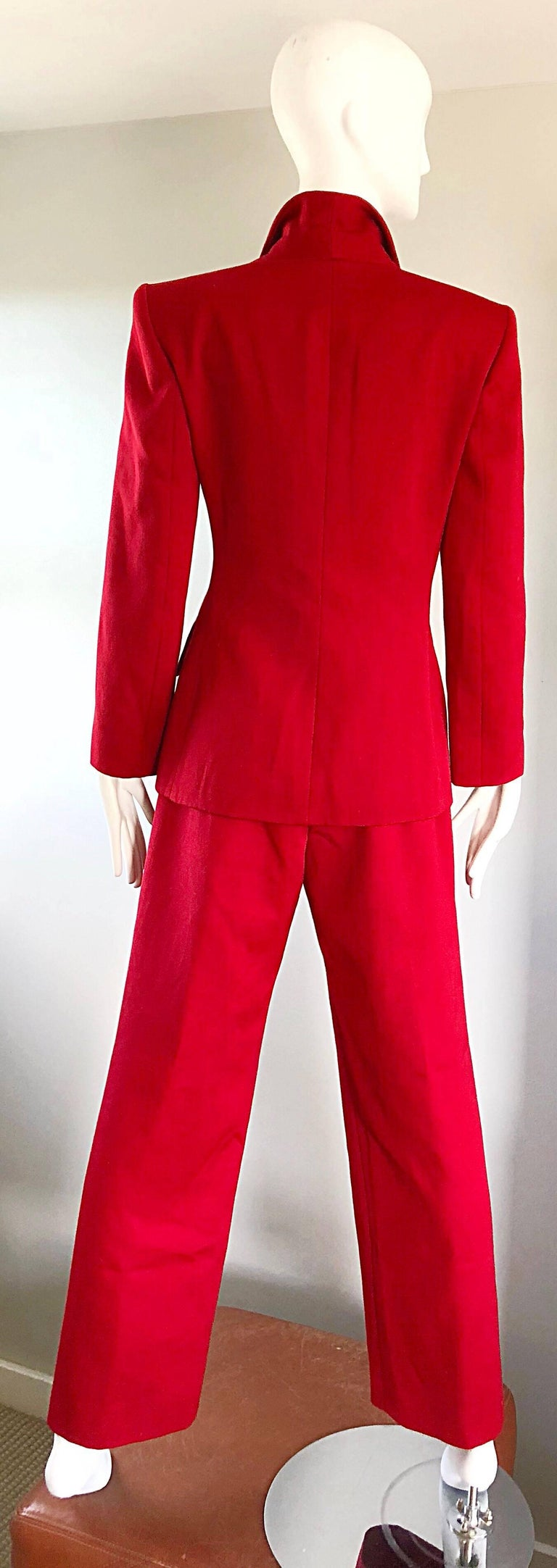Isaac Mizrahi Vintage 1990s Lipstick Red Wide Leg Wool Le Smoking 90s Pants Suit 4