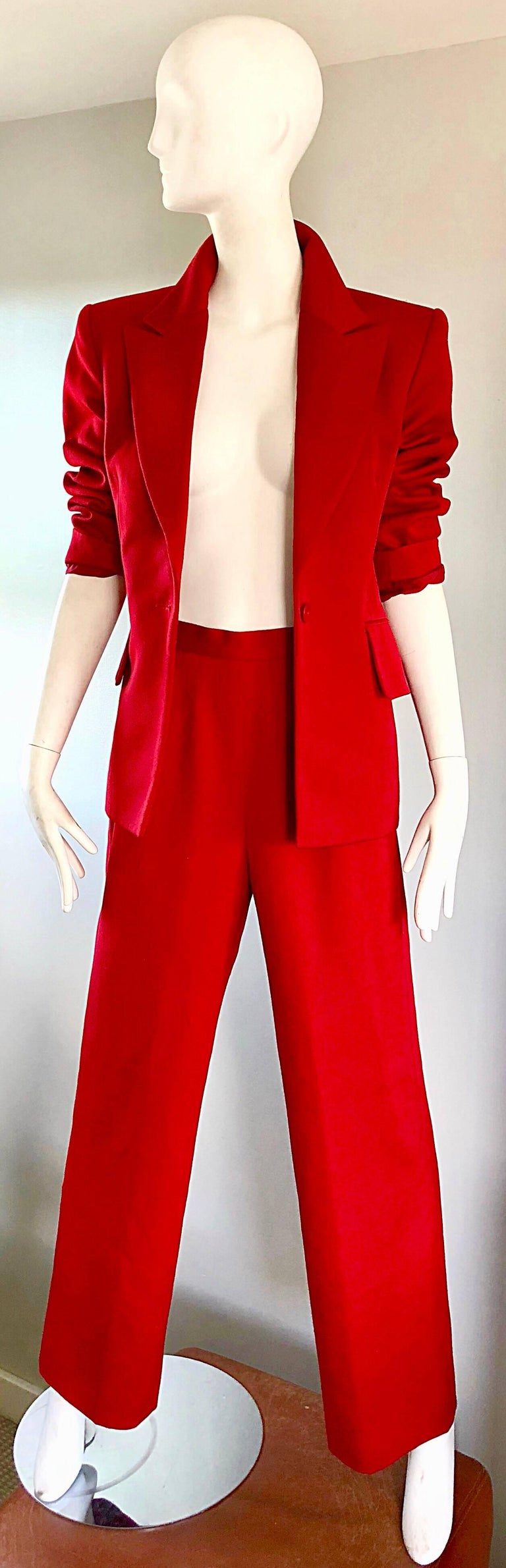 Isaac Mizrahi Vintage 1990s Lipstick Red Wide Leg Wool Le Smoking 90s Pants Suit 5
