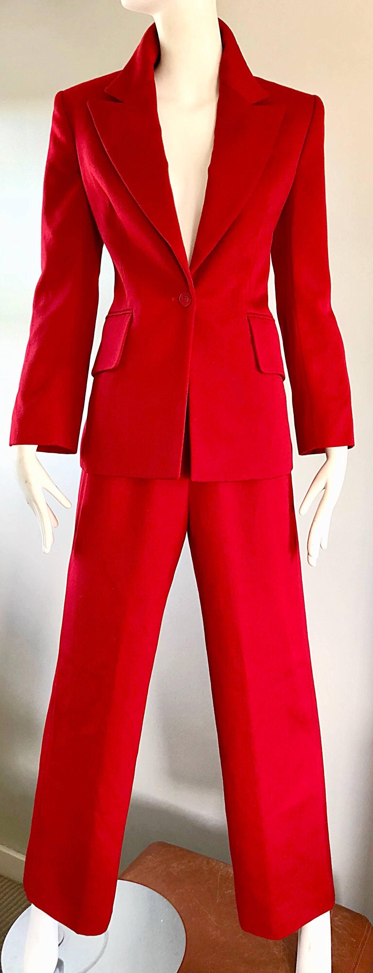 Isaac Mizrahi Vintage 1990s Lipstick Red Wide Leg Wool Le Smoking 90s Pants Suit 6
