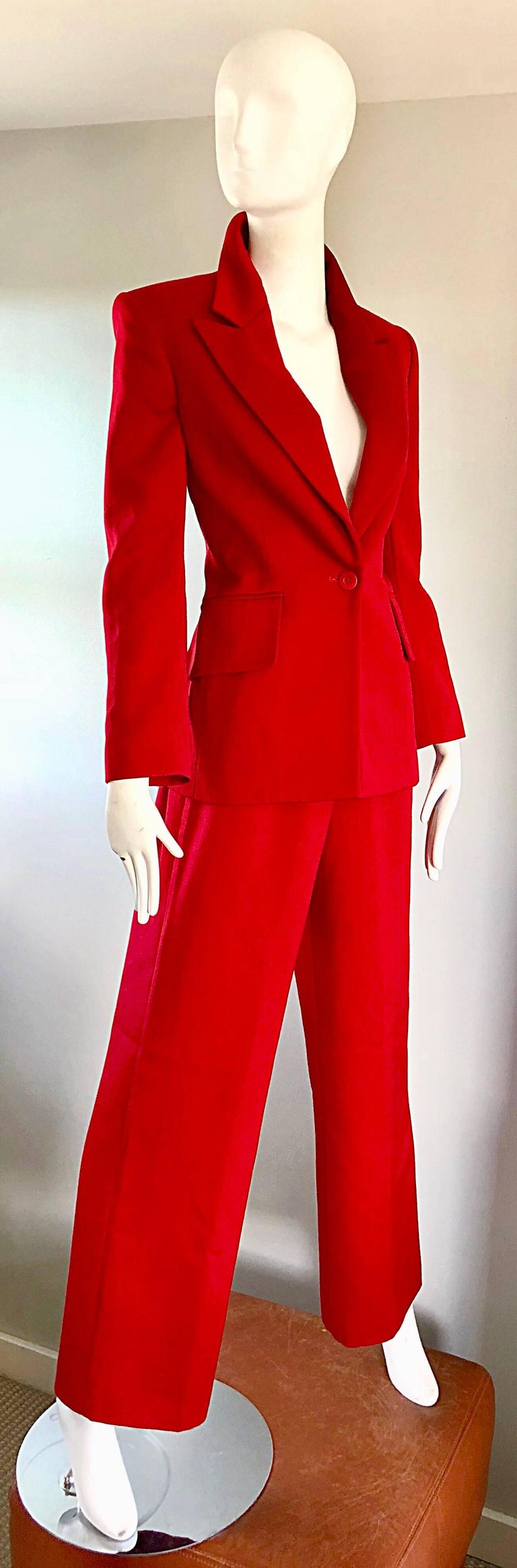 Isaac Mizrahi Vintage 1990s Lipstick Red Wide Leg Wool Le Smoking 90s Pants Suit 7