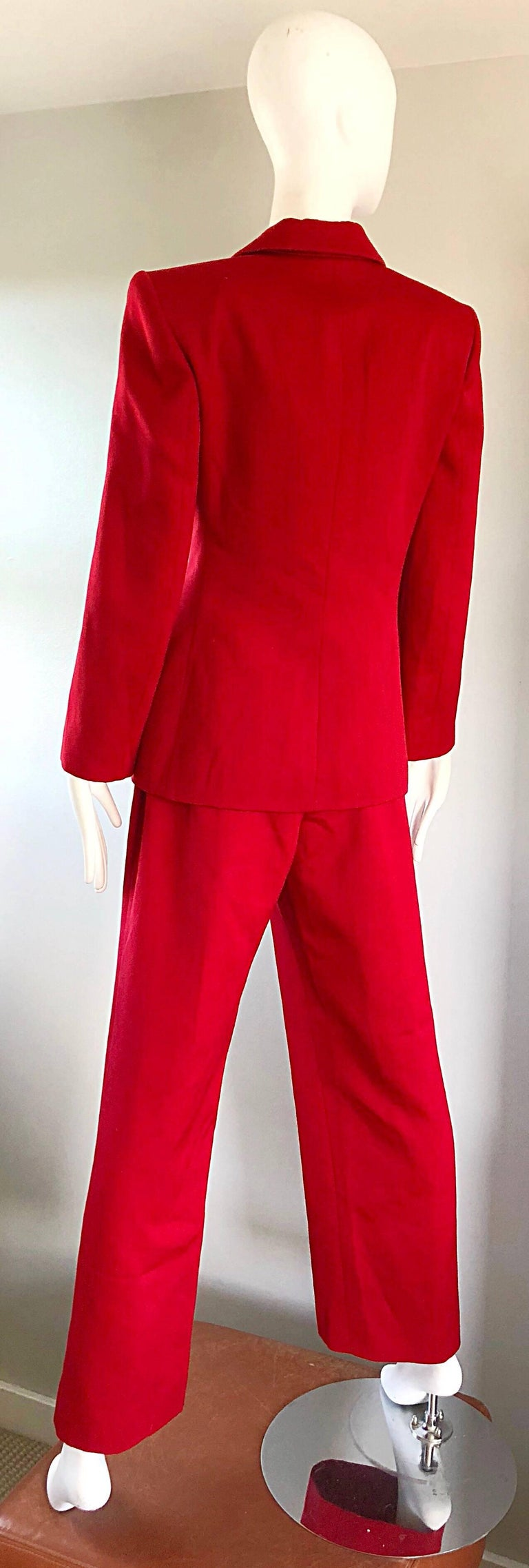 Isaac Mizrahi Vintage 1990s Lipstick Red Wide Leg Wool Le Smoking 90s Pants Suit 8