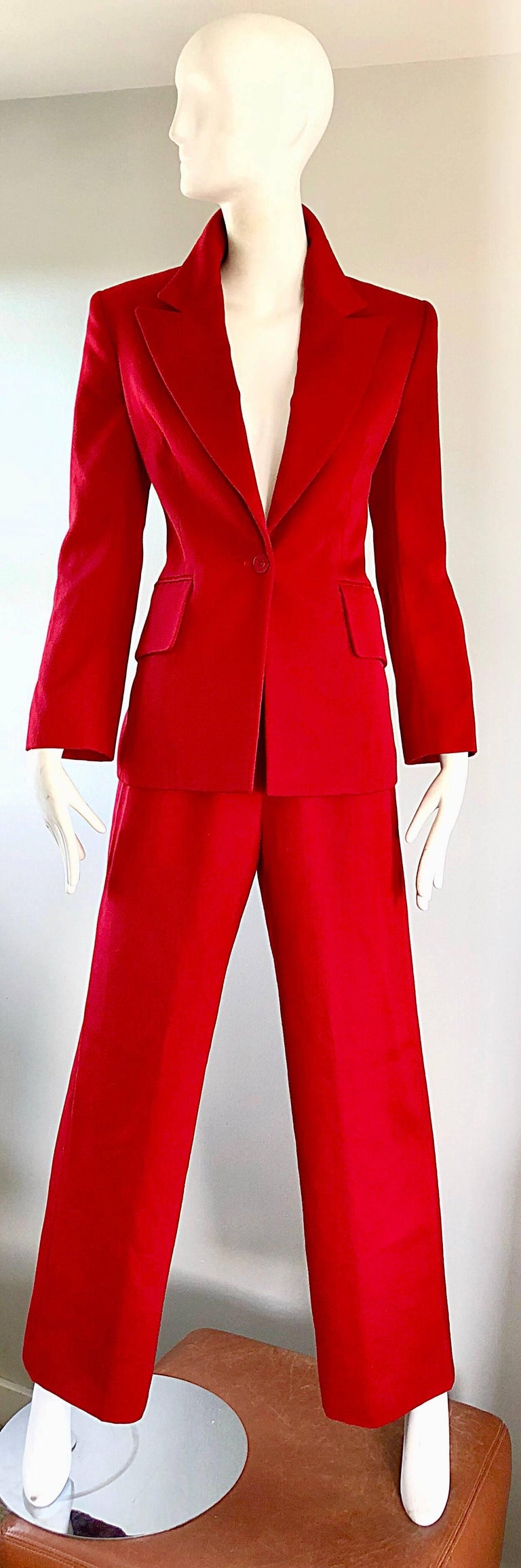 Isaac Mizrahi Vintage 1990s Lipstick Red Wide Leg Wool Le Smoking 90s Pants Suit 9