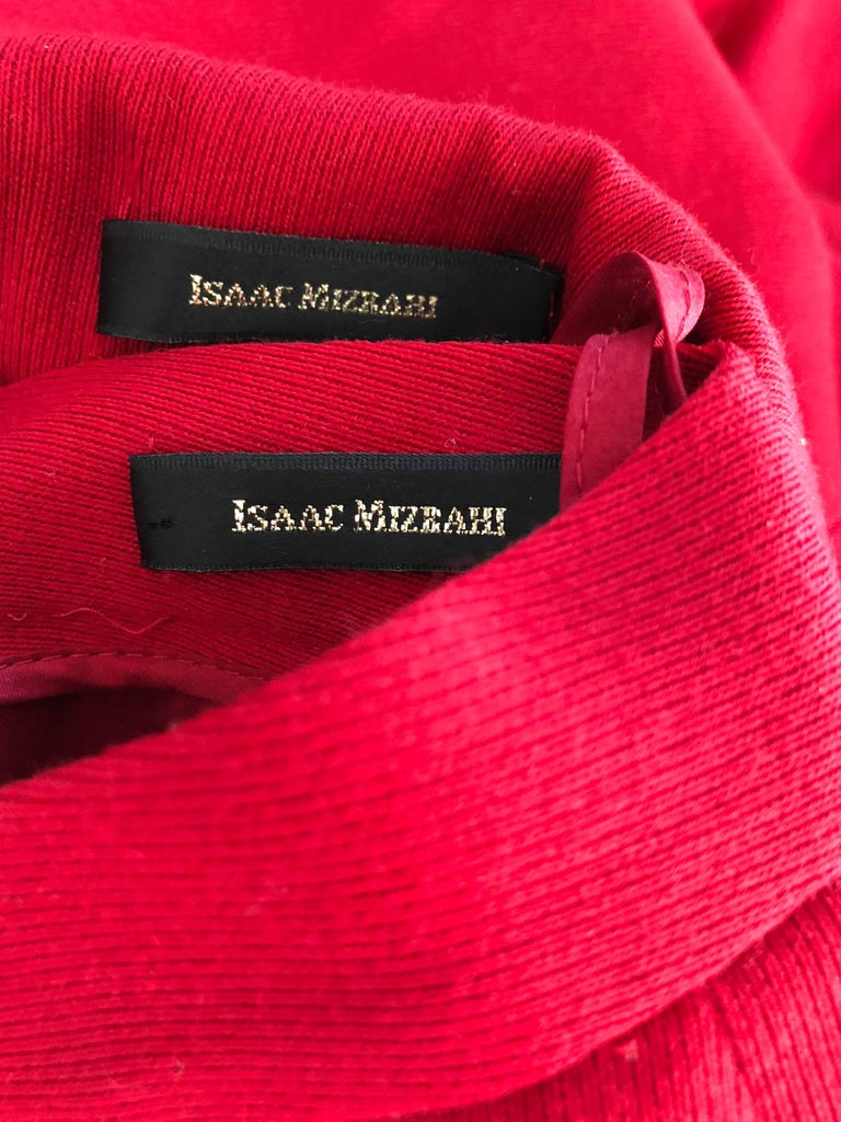 Isaac Mizrahi Vintage 1990s Lipstick Red Wide Leg Wool Le Smoking 90s Pants Suit 10