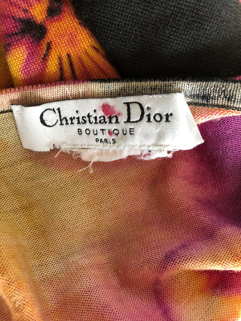Rare Christian Dior by John Galliano Lips and Pansy Print Cotton Cardigan Top For Sale 5