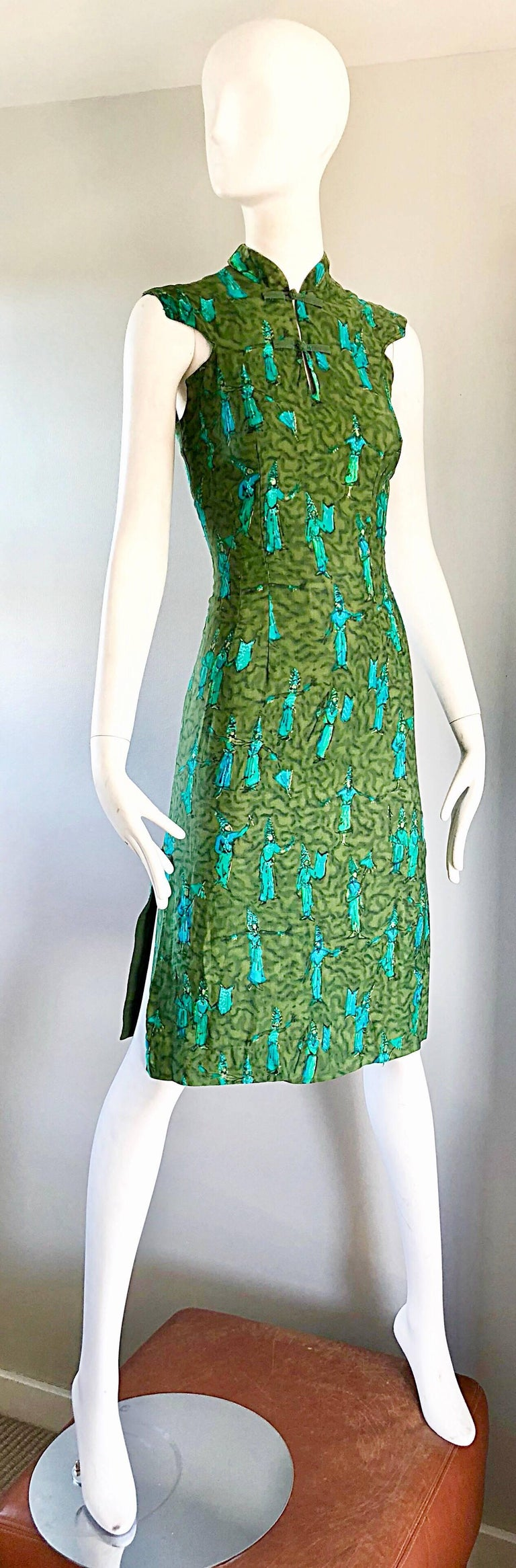 1960s Avocado Lime Green Turquoise Blue Balinese