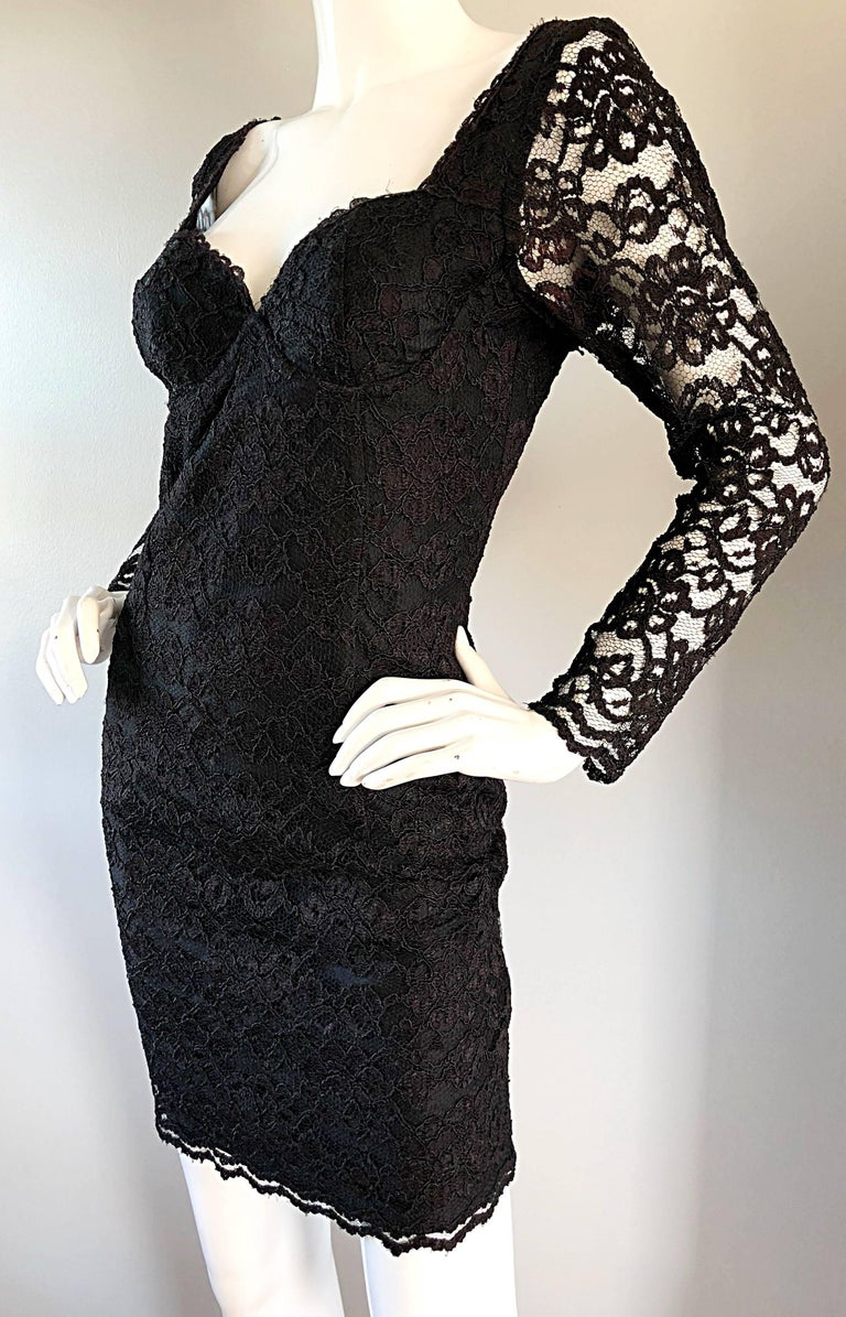 Sexy Vintage Black Silk Lace 1990s Bodycon Long Sleeve 90s Little Black Dress In Excellent Condition For Sale In Chicago, IL