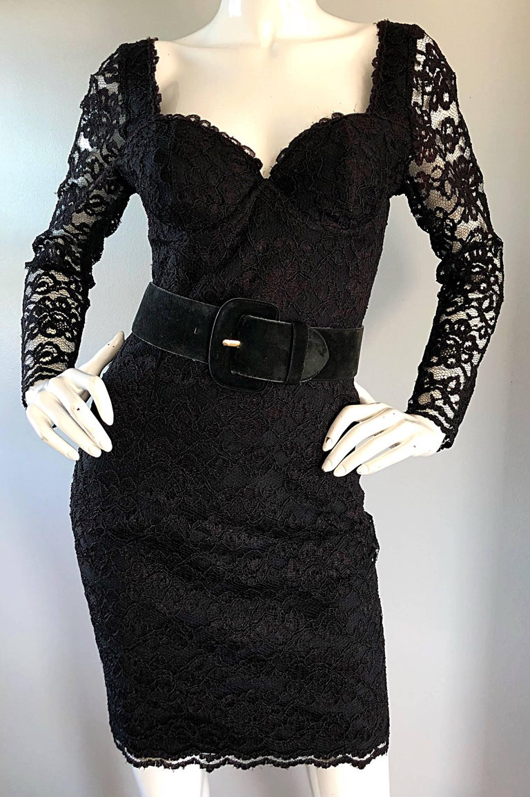 Sexy Vintage Black Silk Lace 1990s Bodycon Long Sleeve 90s Little Black Dress For Sale 1