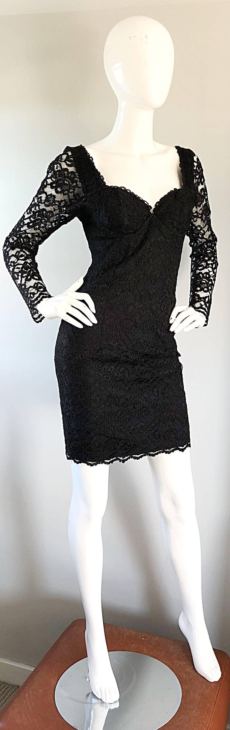 Sexy Vintage Black Silk Lace 1990s Bodycon Long Sleeve 90s Little Black Dress For Sale 2