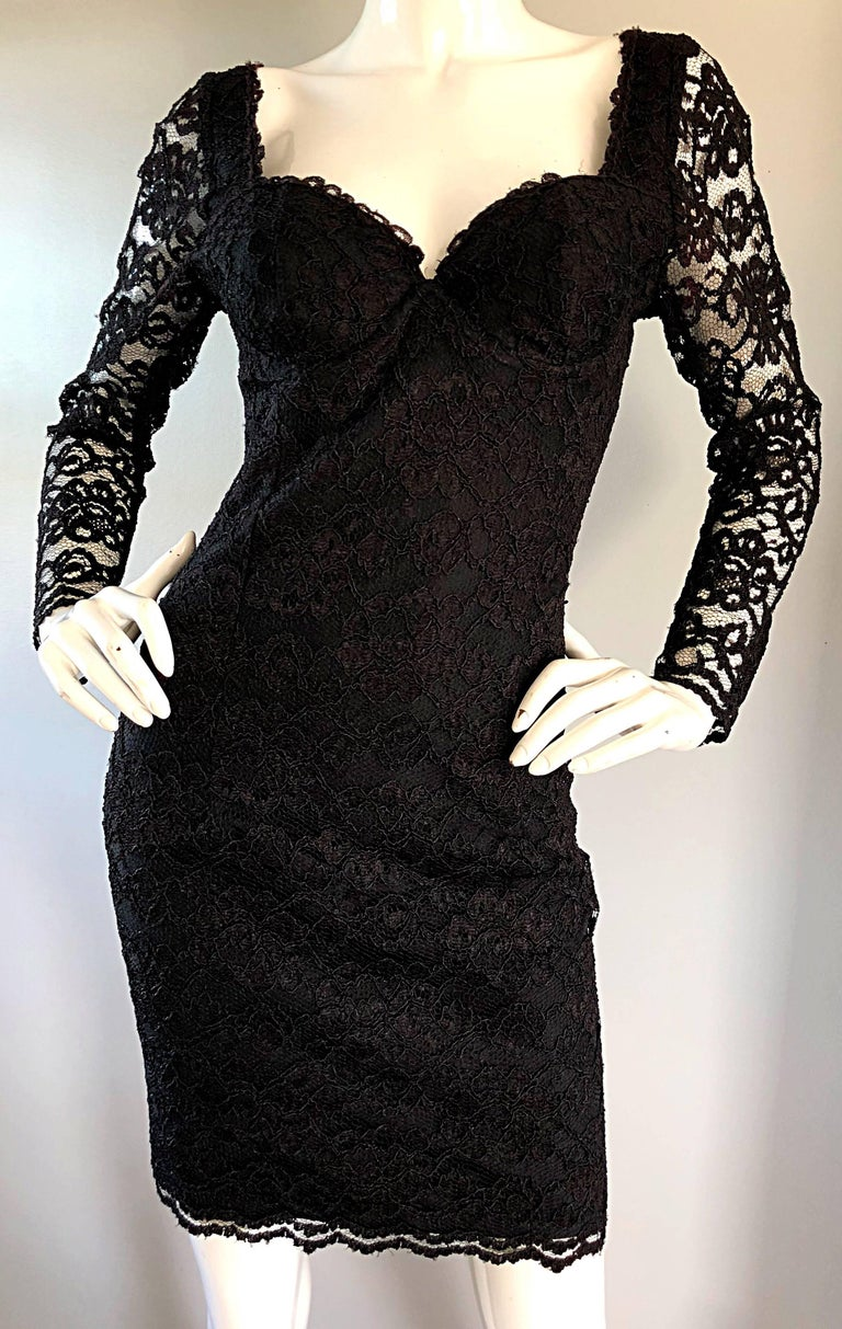 Sexy Vintage Black Silk Lace 1990s Bodycon Long Sleeve 90s Little Black Dress For Sale 3