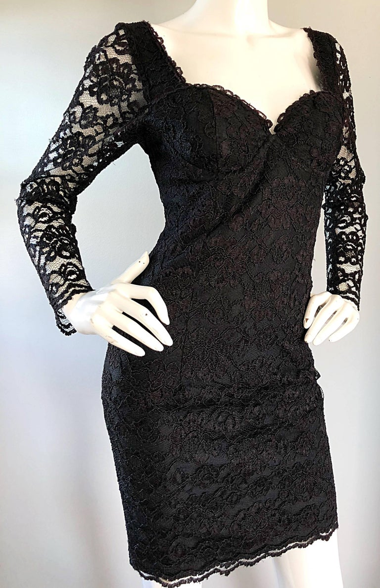Sexy Vintage Black Silk Lace 1990s Bodycon Long Sleeve 90s Little Black Dress For Sale 4