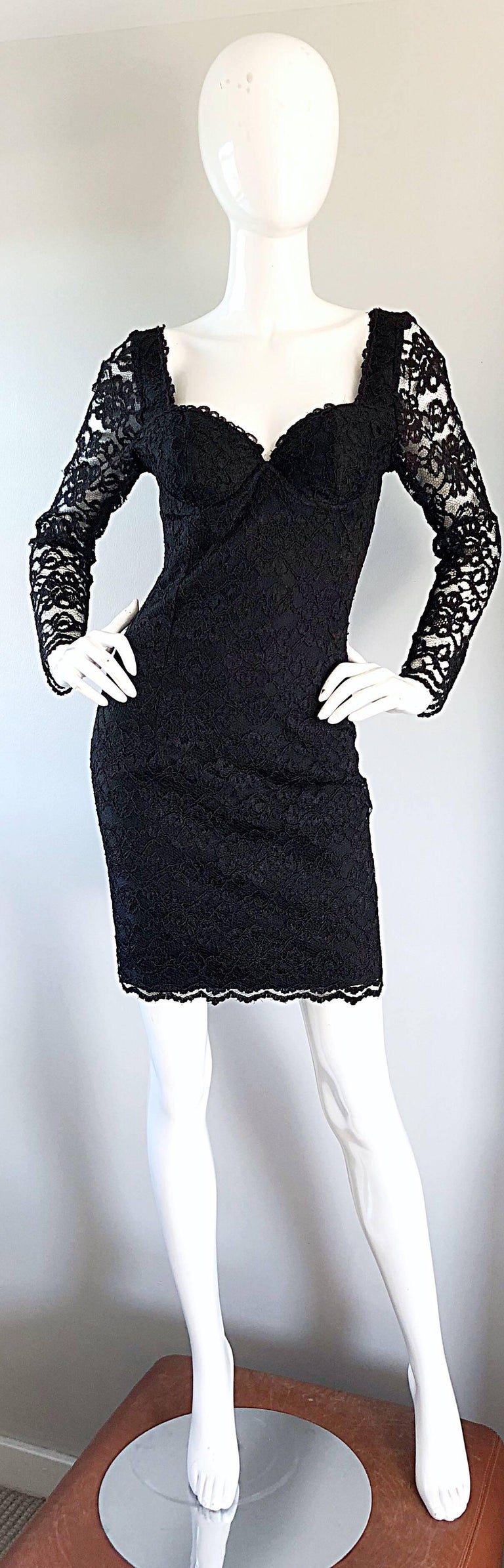 Sexy Vintage Black Silk Lace 1990s Bodycon Long Sleeve 90s Little Black Dress For Sale 5