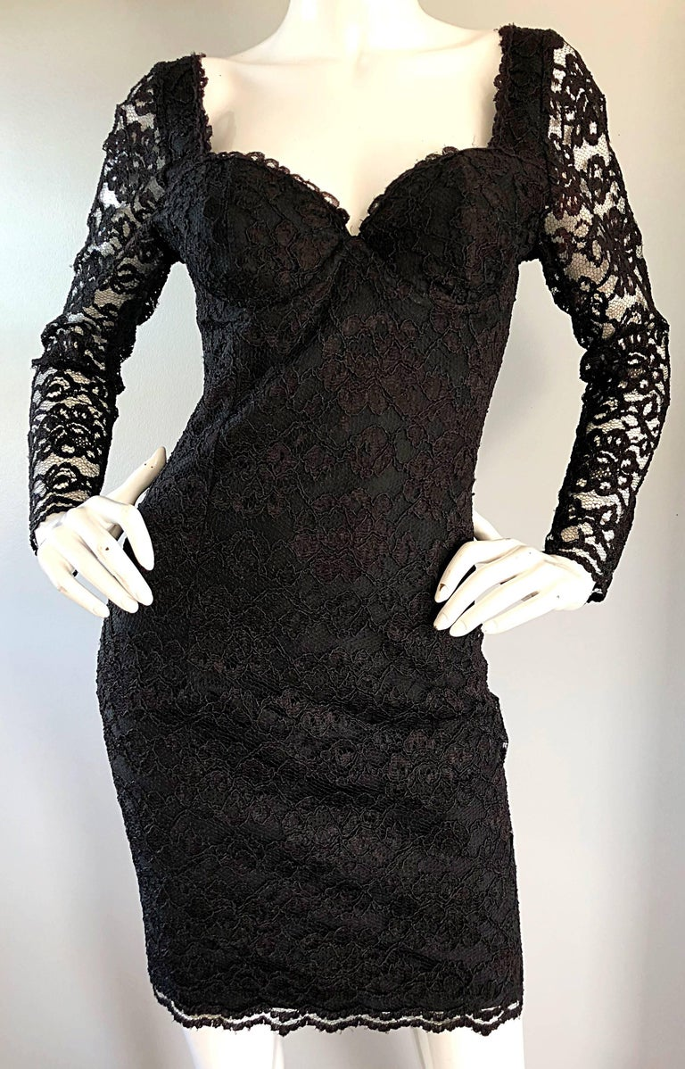 Sexy Vintage Black Silk Lace 1990s Bodycon Long Sleeve 90s Little Black Dress For Sale 6