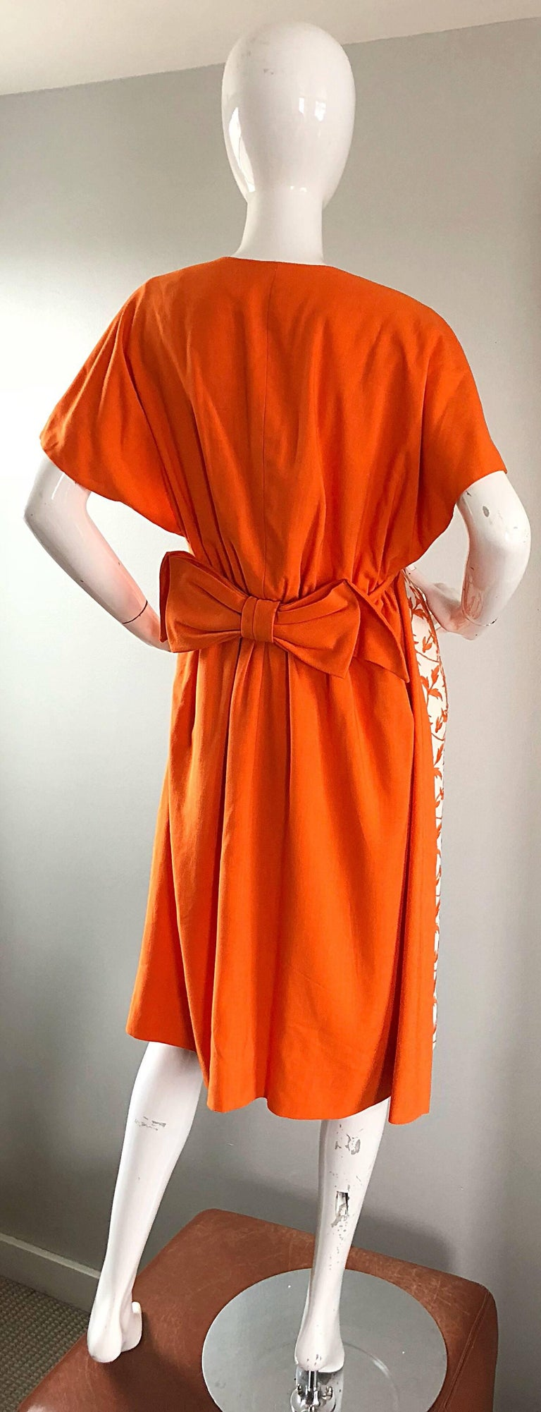 1950s Demi Couture Orange Ivory White Vintage 50s Wiggle