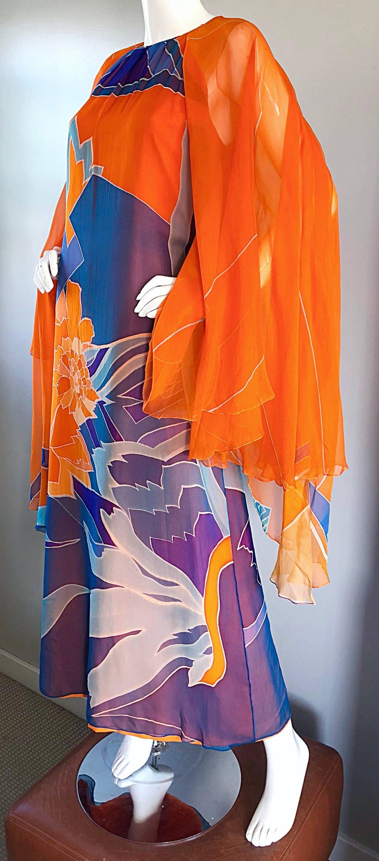 1970s Hanae Mori Couture Bright Orange Silk Chiffon Vintage Caftan Maxi Dress In Good Condition For Sale In Chicago, IL