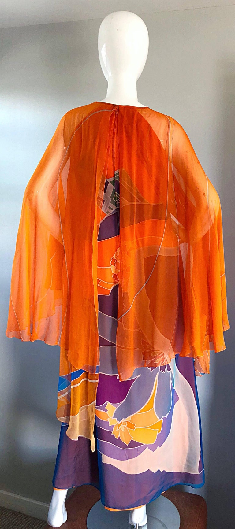 Women's 1970s Hanae Mori Couture Bright Orange Silk Chiffon Vintage Caftan Maxi Dress For Sale