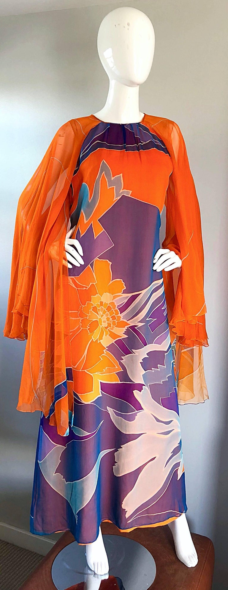 1970s Hanae Mori Couture Bright Orange Silk Chiffon Vintage Caftan Maxi Dress For Sale 2