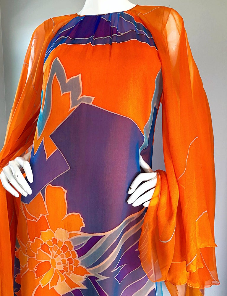 1970s Hanae Mori Couture Bright Orange Silk Chiffon Vintage Caftan Maxi Dress For Sale 1