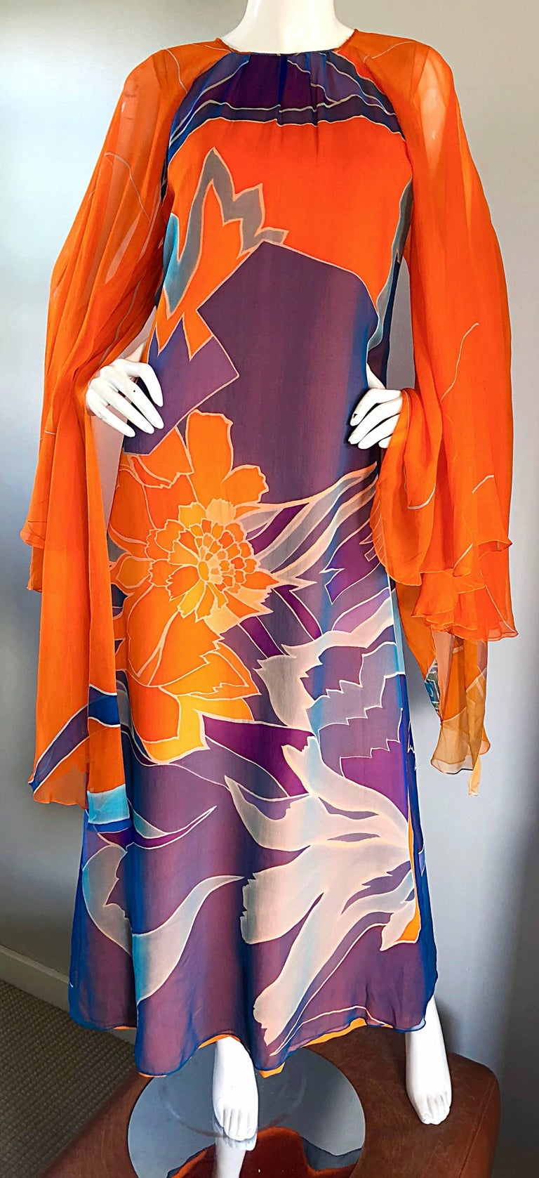 1970s Hanae Mori Couture Bright Orange Silk Chiffon Vintage Caftan Maxi Dress For Sale 3