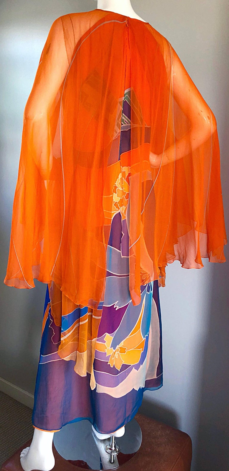 1970s Hanae Mori Couture Bright Orange Silk Chiffon Vintage Caftan Maxi Dress For Sale 4