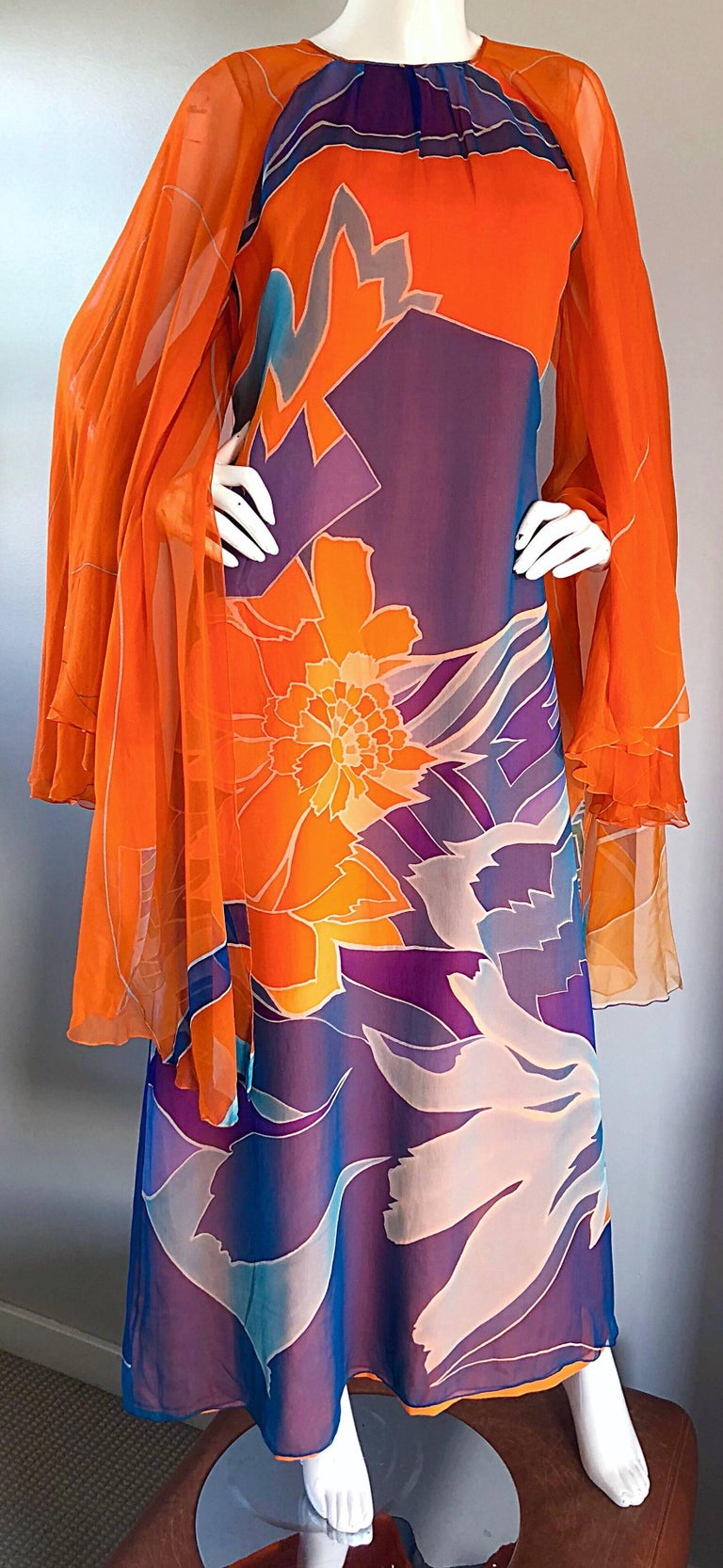 1970s Hanae Mori Couture Bright Orange Silk Chiffon Vintage Caftan Maxi Dress For Sale 5
