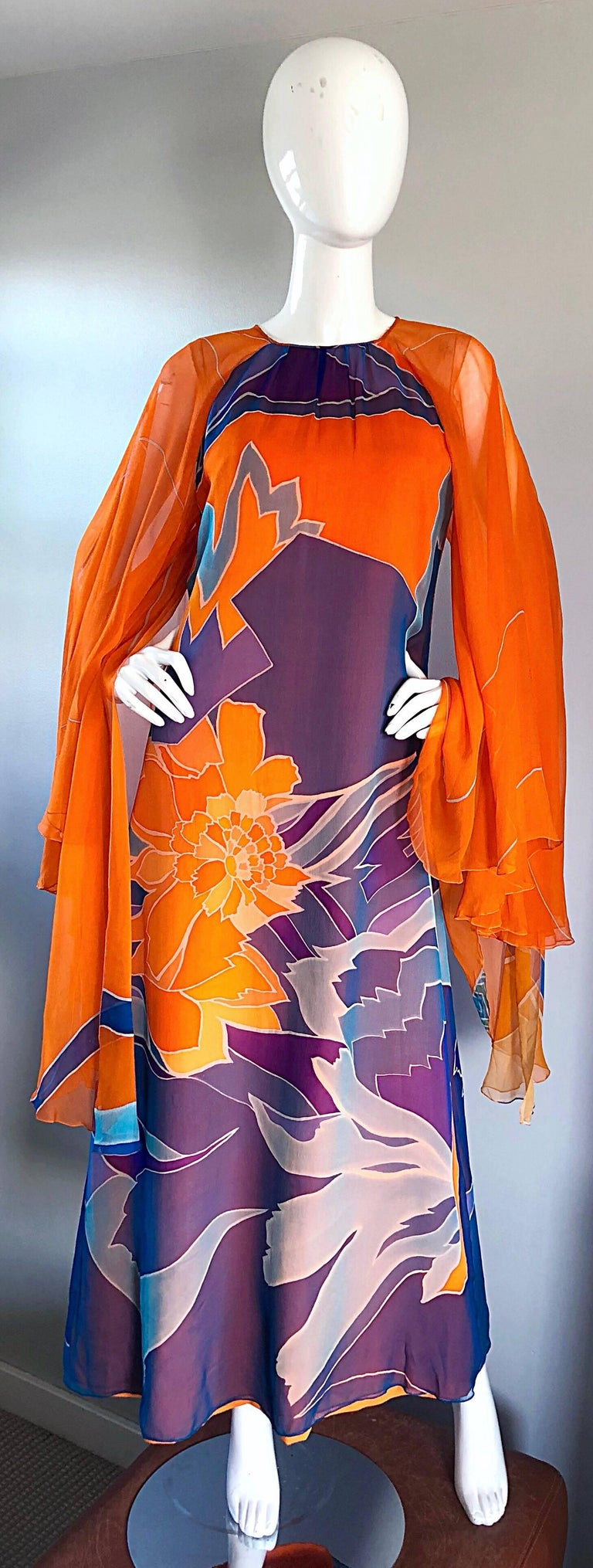 1970s Hanae Mori Couture Bright Orange Silk Chiffon Vintage Caftan Maxi Dress For Sale 6