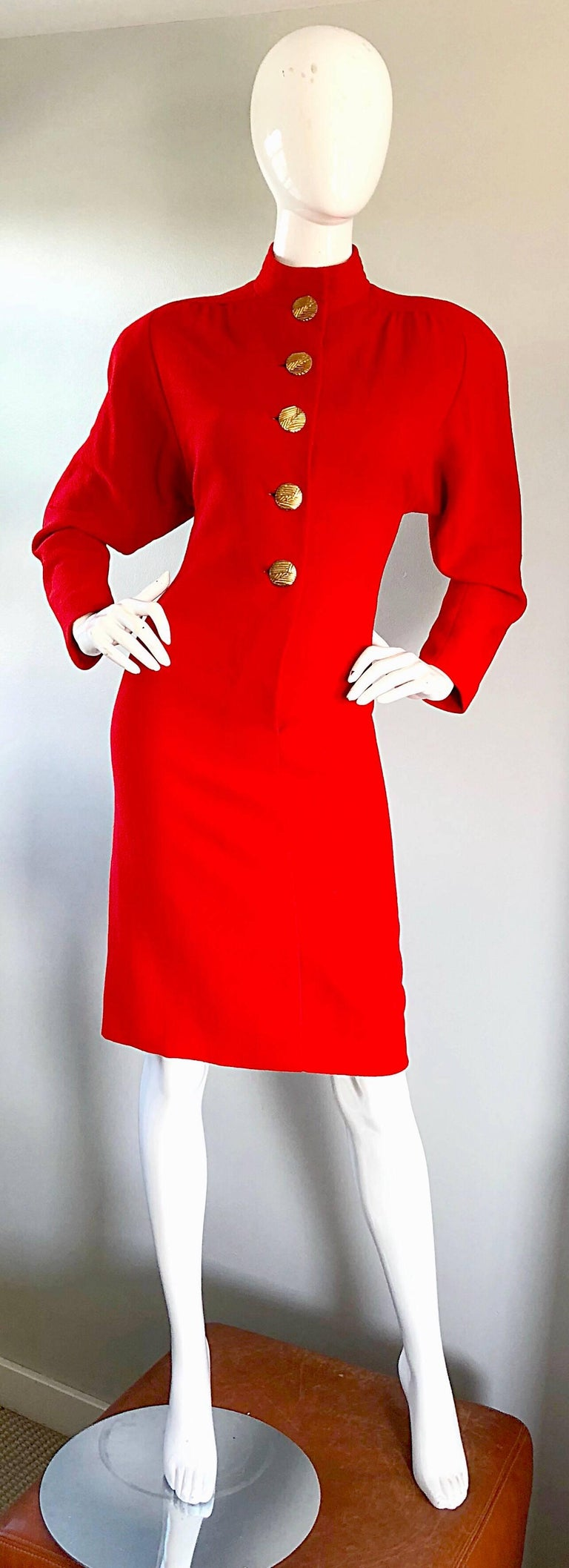 Beautiful vintage 80s JAMES GALANOS for I MAGNIN lipstick red virgin wool long sleeve dress! In true Galanos fashion, this beauty is extremely well made, with an immense amount of attention to detail. Fully lined in red silk chiffon, this soft