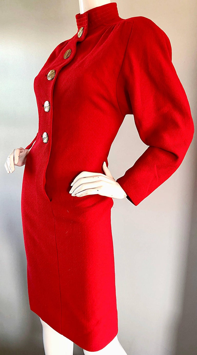 Beautiful Vintage Galanos Lipstick Red Avant Garde 1980s Wool Size 8 10 Dress  In Excellent Condition For Sale In Chicago, IL