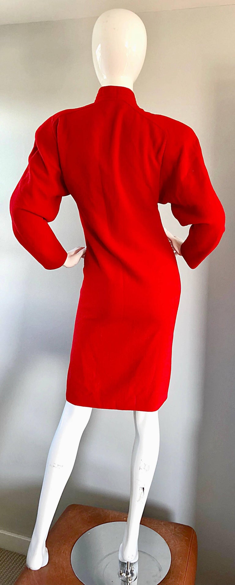 Beautiful Vintage Galanos Lipstick Red Avant Garde 1980s Wool Size 8 10 Dress  For Sale 1