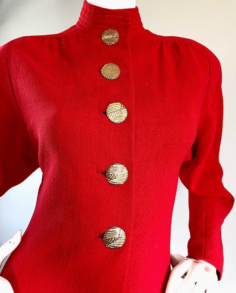 Women's Beautiful Vintage Galanos Lipstick Red Avant Garde 1980s Wool Size 8 10 Dress  For Sale
