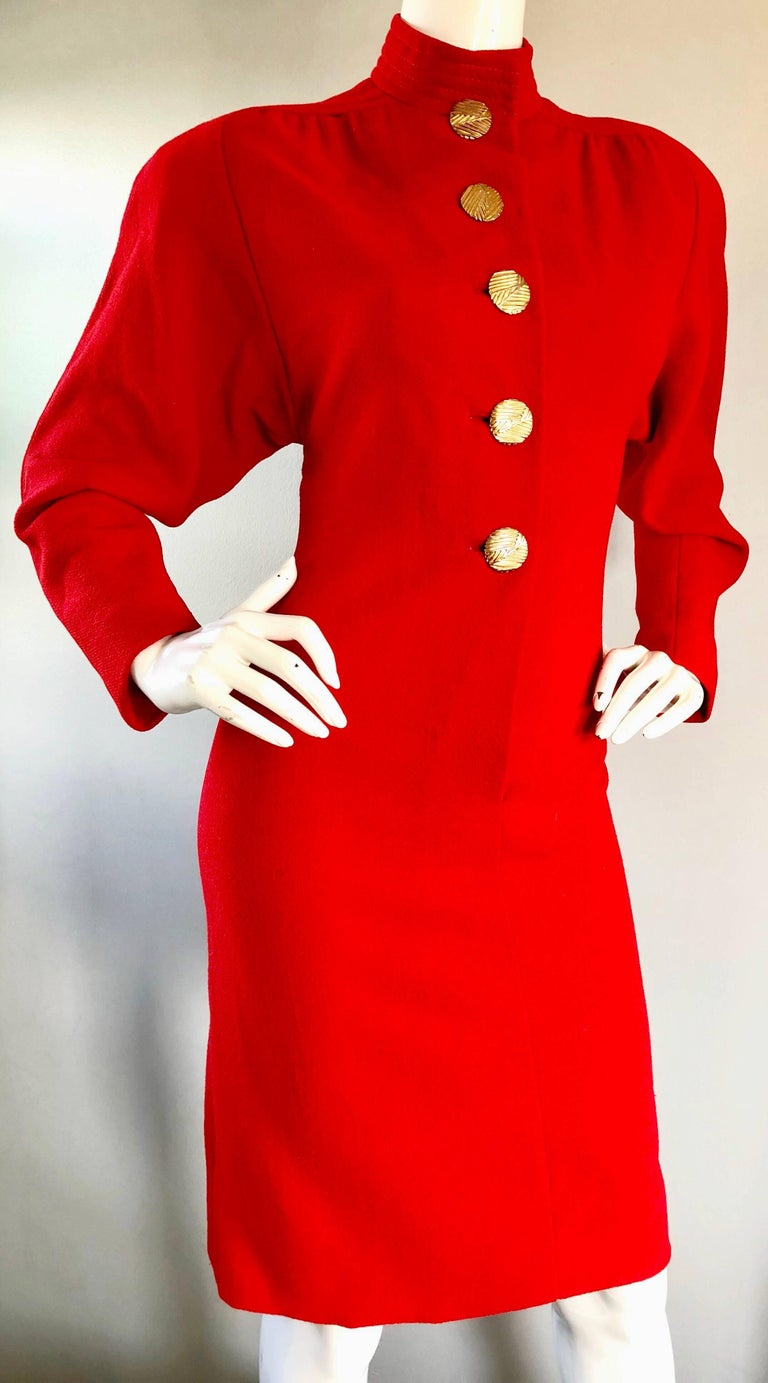 Beautiful Vintage Galanos Lipstick Red Avant Garde 1980s Wool Size 8 10 Dress  For Sale 2