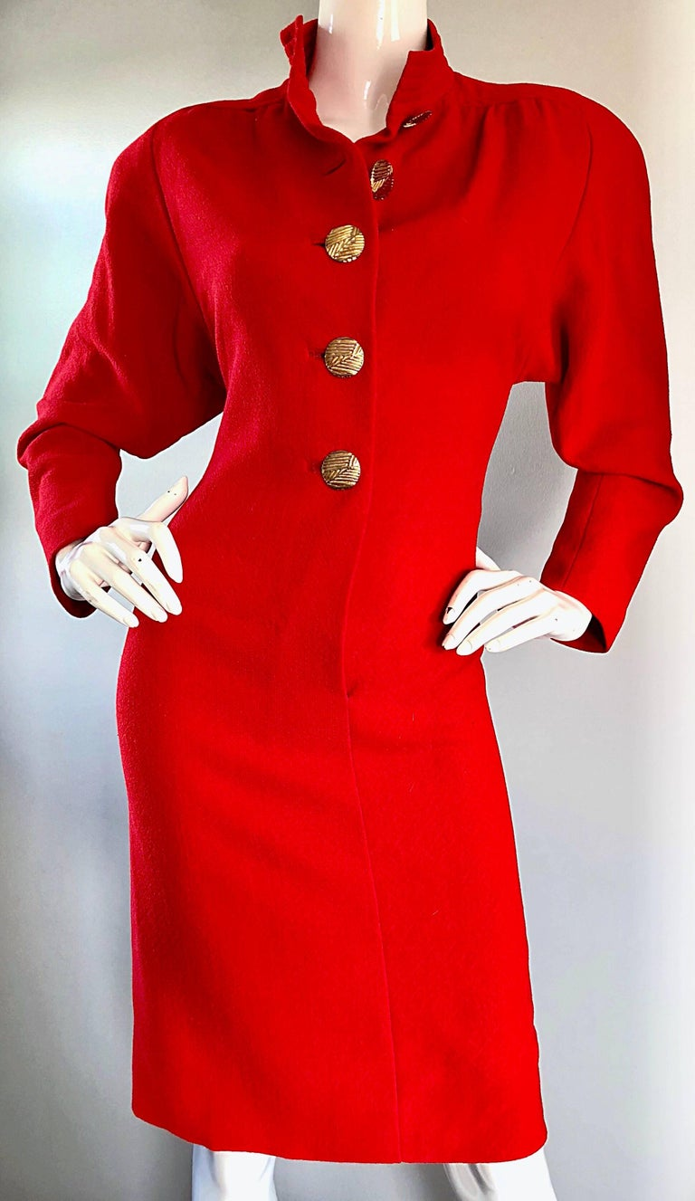 Beautiful Vintage Galanos Lipstick Red Avant Garde 1980s Wool Size 8 10 Dress  For Sale 3