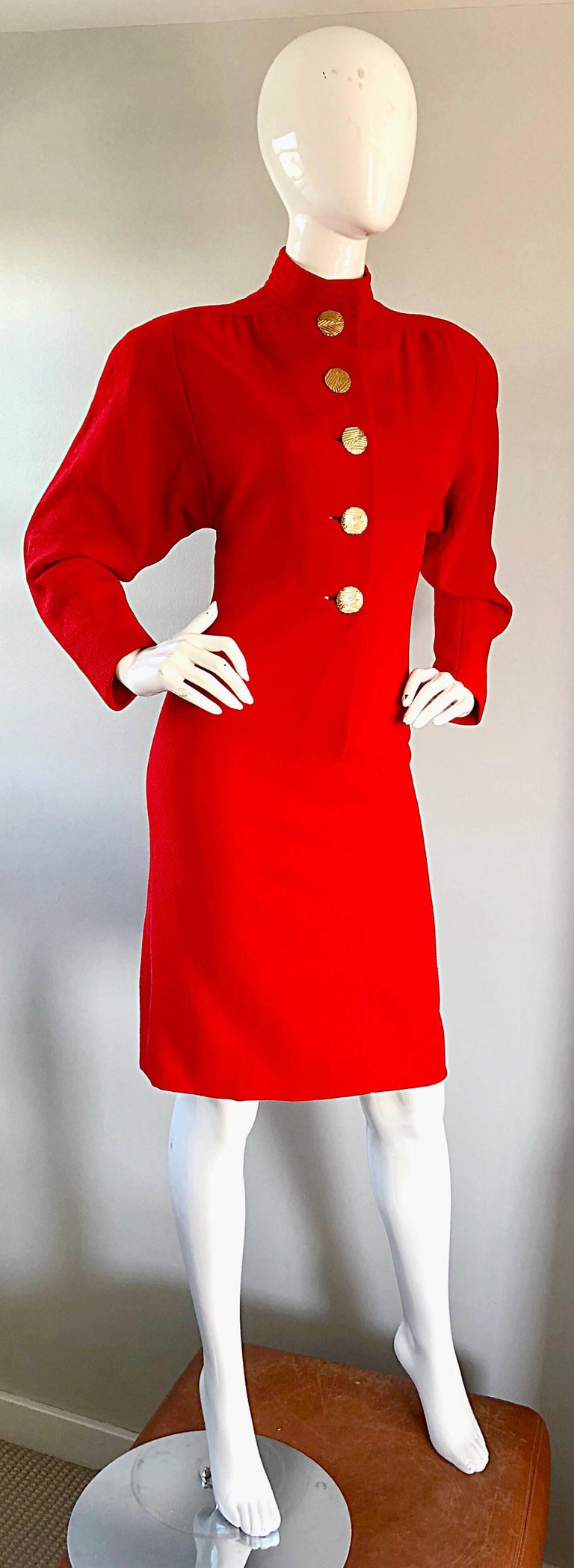 Beautiful Vintage Galanos Lipstick Red Avant Garde 1980s Wool Size 8 10 Dress  For Sale 4
