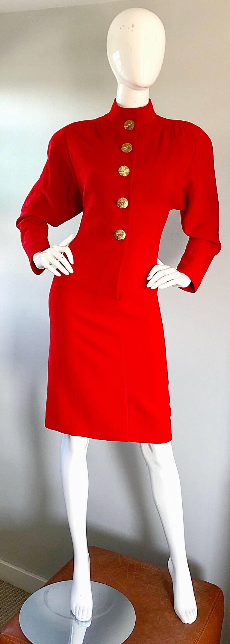 Beautiful Vintage Galanos Lipstick Red Avant Garde 1980s Wool Size 8 10 Dress  For Sale 5