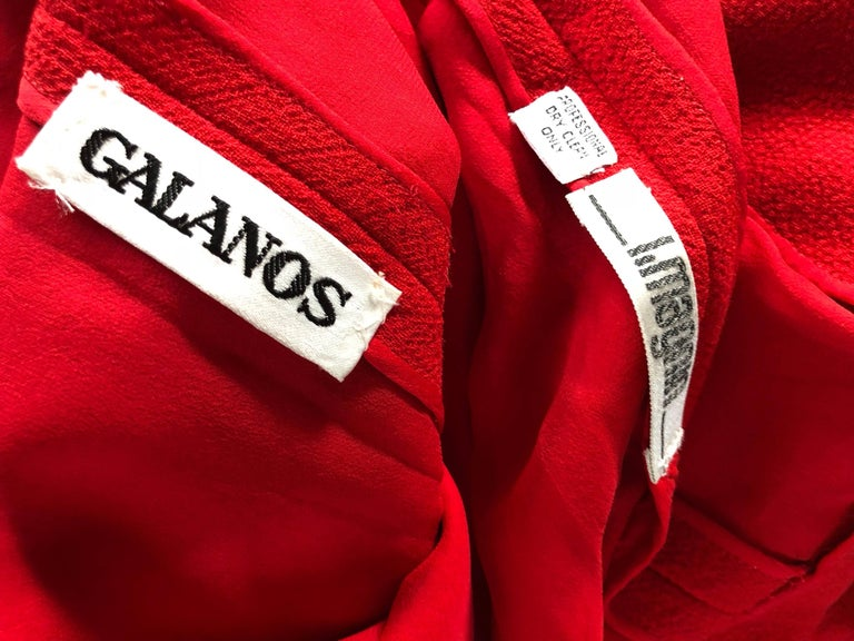 Beautiful Vintage Galanos Lipstick Red Avant Garde 1980s Wool Size 8 10 Dress  For Sale 6