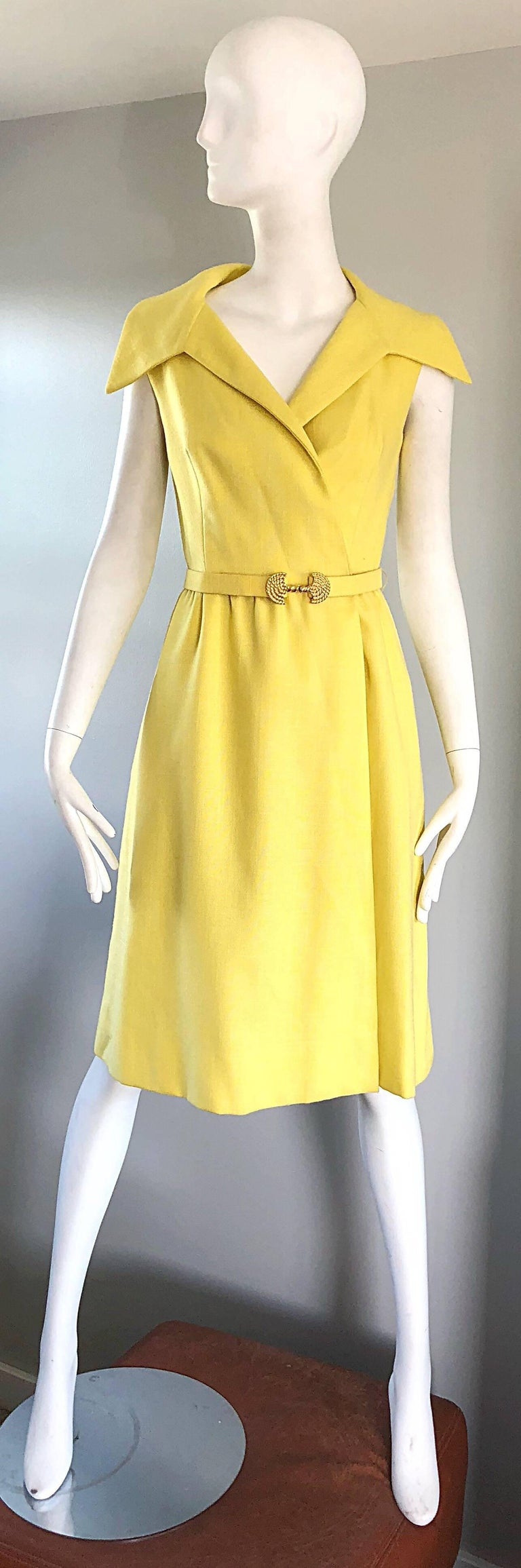 Mollie Parnis Canary Yellow Linen Vintage Belted Shirt Dress, 1950s ...
