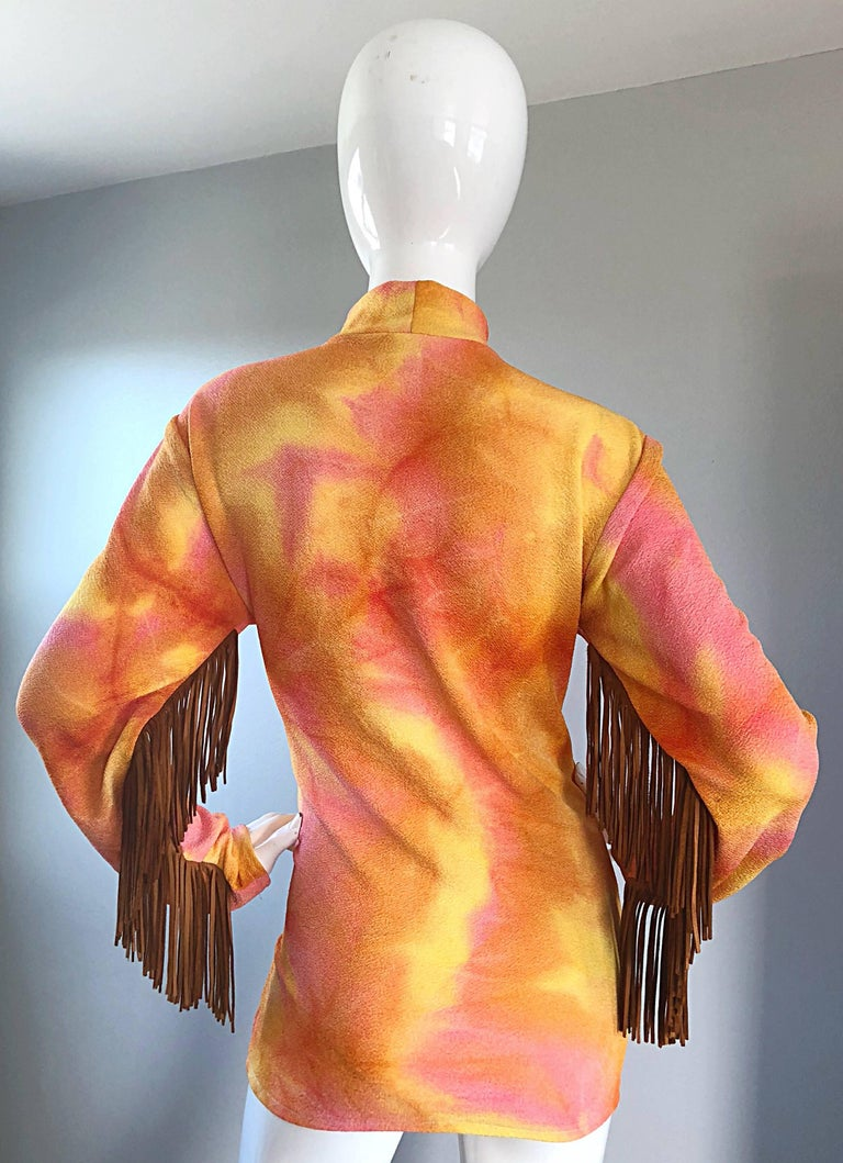 Women's Amazing 1970s Pink + Orange Tie Dyed Suede Leather Fringe 70s Vintage Tunic For Sale
