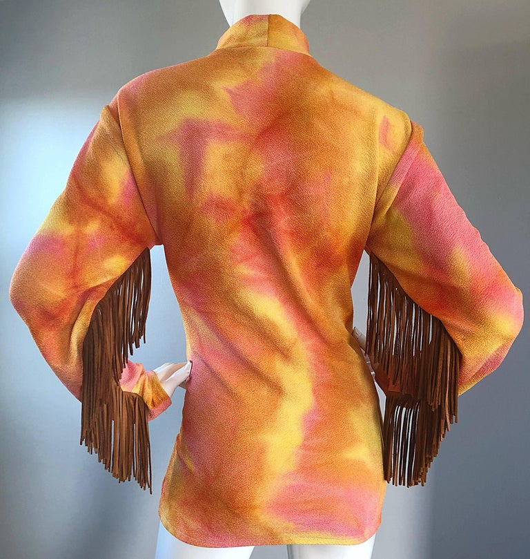 Amazing 1970s Pink + Orange Tie Dyed Suede Leather Fringe 70s Vintage Tunic For Sale 3