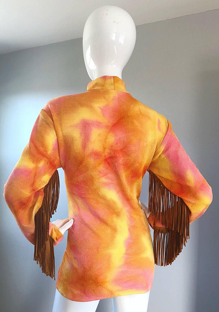 Amazing 1970s Pink + Orange Tie Dyed Suede Leather Fringe 70s Vintage Tunic For Sale 4