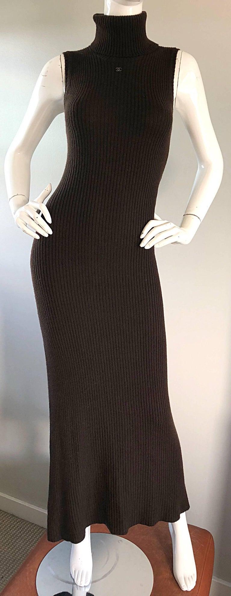Chanel Vintage 99A Espresso Brown Cashmere Turtleneck 1990s 90s Sweater Dress 4