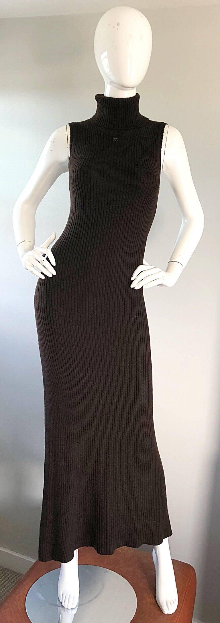 Chanel Vintage 99A Espresso Brown Cashmere Turtleneck 1990s 90s Sweater Dress 3