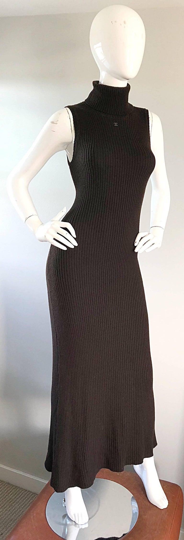Chanel Vintage 99A Espresso Brown Cashmere Turtleneck 1990s 90s Sweater Dress 5