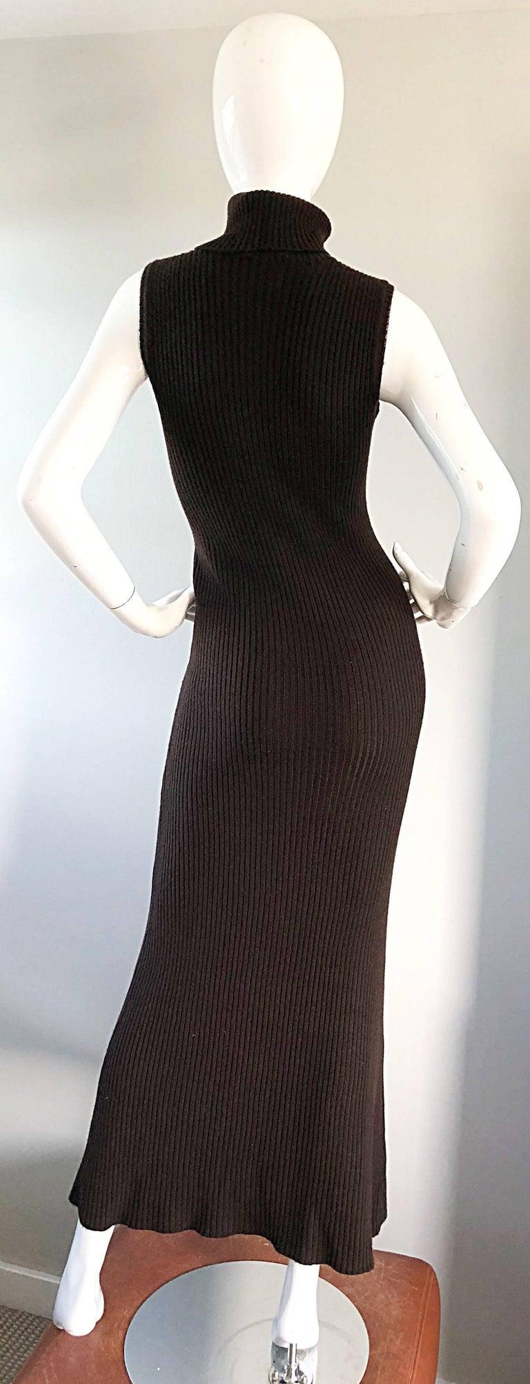 Chanel Vintage 99A Espresso Brown Cashmere Turtleneck 1990s 90s Sweater Dress 6