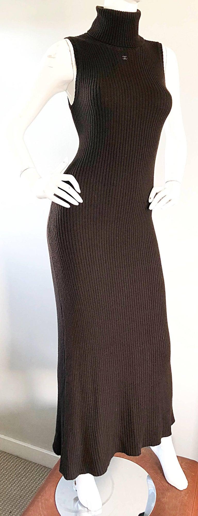 Chanel Vintage 99A Espresso Brown Cashmere Turtleneck 1990s 90s Sweater Dress 7