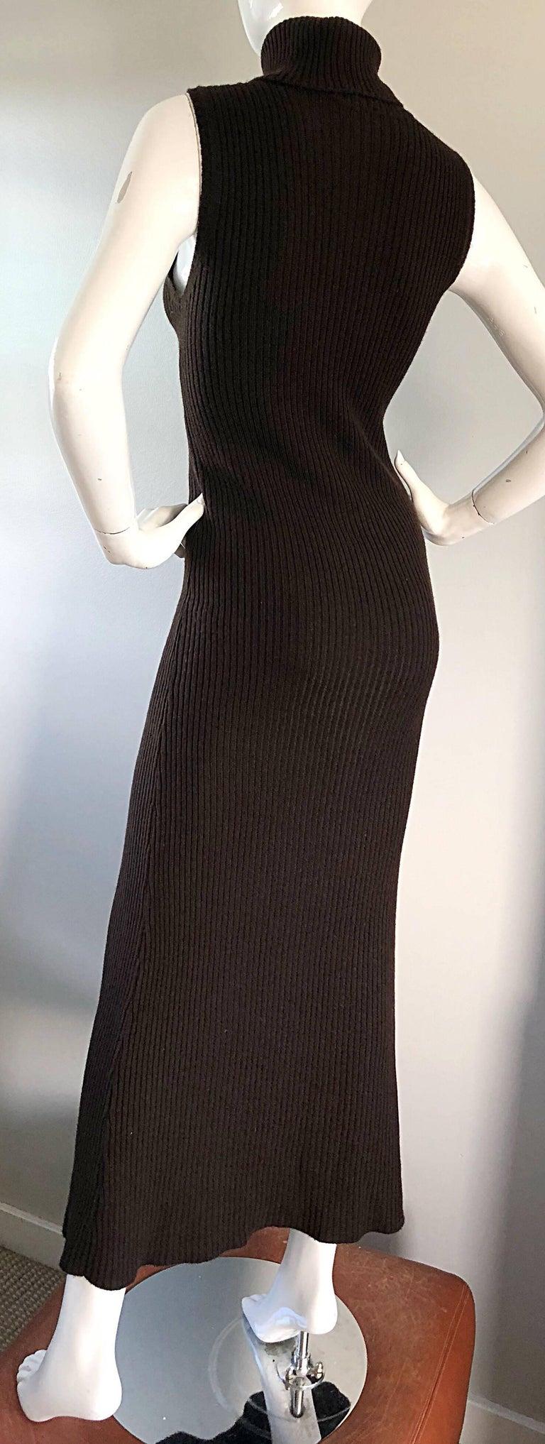 Chanel Vintage 99A Espresso Brown Cashmere Turtleneck 1990s 90s Sweater Dress 8