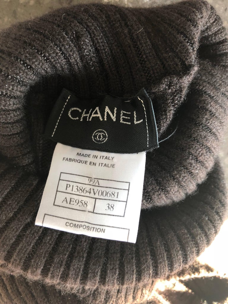 Chanel Vintage 99A Espresso Brown Cashmere Turtleneck 1990s 90s Sweater Dress 10
