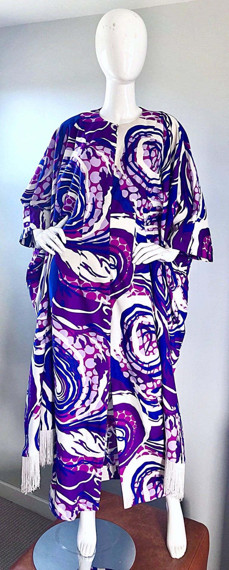 1970s Liberty House Fringe Op Art Blue And Purple Caftan