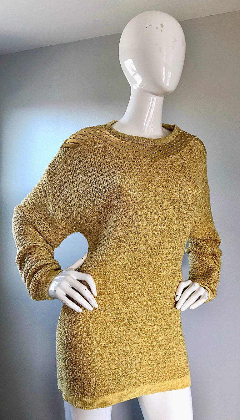 Marshall Rousso Vintage Gold Metallic Studded One Size Slouchy 1980s Sweater For 1
