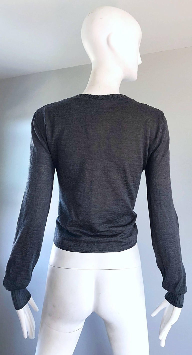 Lanvin Hiver 2006 Charcoal Grey Alpaca + Silk Button Up Cardigan Sweater In Excellent Condition For Sale In Chicago, IL