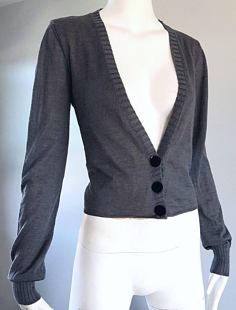Women's Lanvin Hiver 2006 Charcoal Grey Alpaca + Silk Button Up Cardigan Sweater For Sale